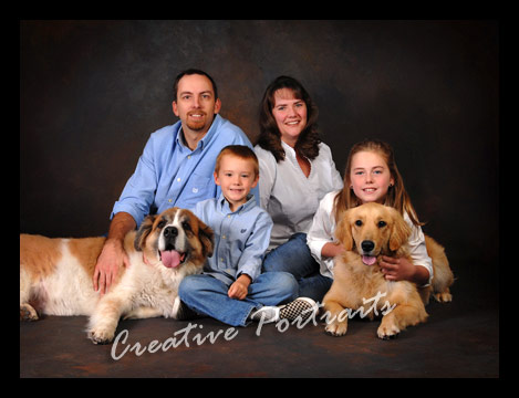 Indoor Family Portrait Session With 2 Big Dogs Redding Creative